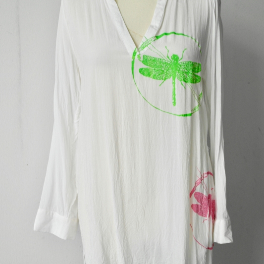 Pink & Green Print on White Tunic Size 12/40