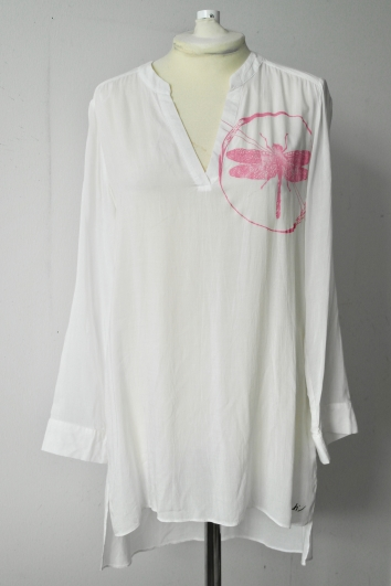 Pink Print on White Tunic Size 12/40