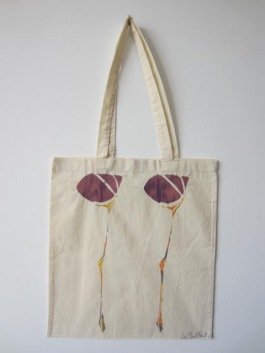 Scottish Flower - Hand-Printed Bag, Cream II