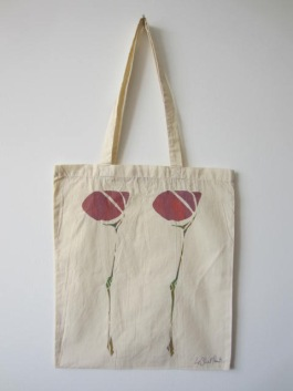 Scottish Flower - Hand-Printed Bag, Cream III