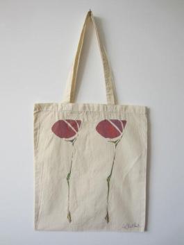 Scottish Flower - Hand-Printed Bag, Cream III