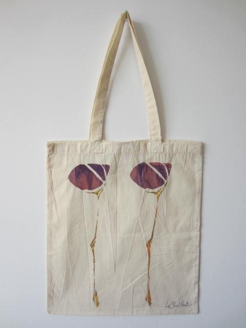 Scottish Flower - Hand-Printed Bag, Cream V