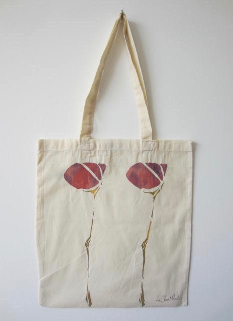 Scottish Flower - Hand-Printed Bag, Cream VI