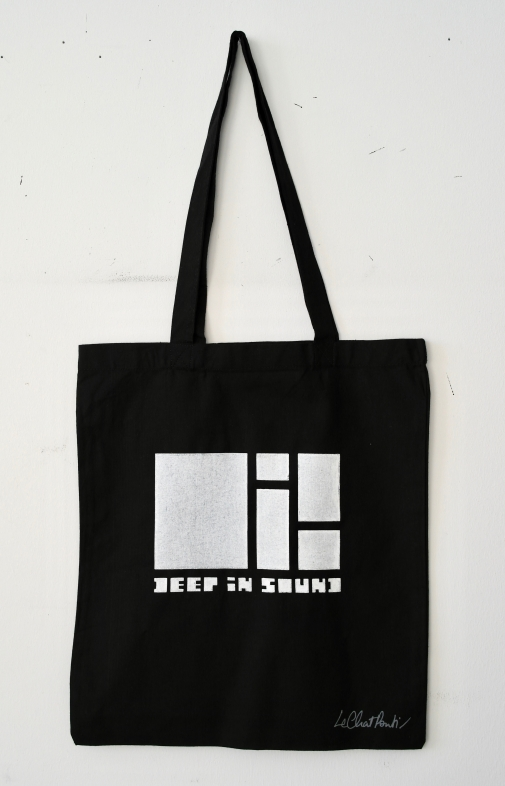 White on Black Tote Bag — 100% Cotton.