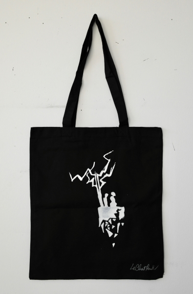 'Planet Island' Design  — White on Black Tote Bag — 100% Cotton Tote.